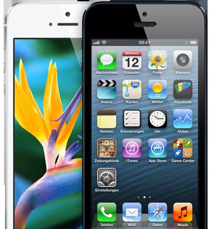 Wie erwartet arbeitet im neuen iPhone 5 eine schnelle A6-CPU. Die Displaygröße wurde von 3,5 Zoll auf 4 Zoll angehoben, die Akkulaufzeit ist entsprechend länger, die Kamera überarbeitet. LTE-Datenfunk und WLAN 802.11 a/b/g/n sind an Bord, wie auch iOS 6 mit zahlreichen neuen Features. Neu ist auch der Dock-Connector. Das neueste Apple-Phone ist zudem mit 7,6 Millimeter nach bis dato dünnste iPhone. Es kommt in Schwarz oder in Silber-Weiß ab 21. September. Die Preise: 199, 299 und 399 Euro für die Versionen mit 16, 32 und 64 GByte bei einem 2-Jahres-Vertrag (Foto: Apple).