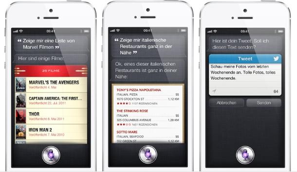 Siri mischt jetzt auch beim Navigieren mit. Außerdem kennt Siri die Sportergebnisse. Und Filme – zumindest in den USA. Mit Siri lassen sich jetzt auch Facebook-Statusmeldungen verfassen (Foto: Apple).