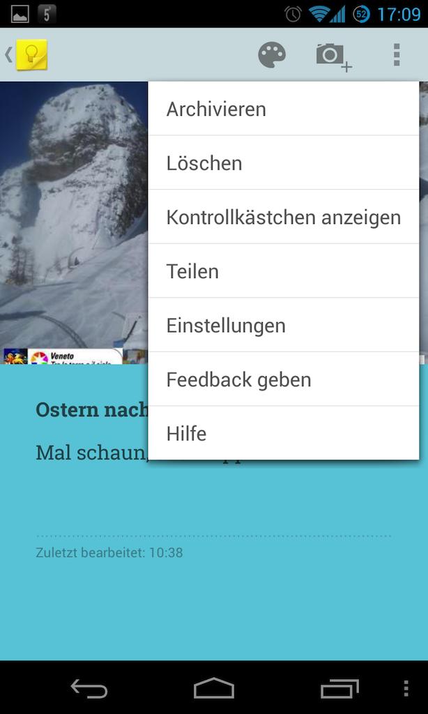 """Mit Keep bringt Google eine Alternative zu Evernote. Anders als der Marktführer steht Keep derzeit allerdings nur für Android und als Web-Interface zur Verfügung. Mit Keep lassen sich Notizen und List, die Keep automatisch in Text umwandelt. Sie erlaubt darüber hinaus, die Notizen mit Fotos zu ergänzen. Ein Widget macht Google Keep vom Startbildschirm aus zugänglich, ab Android 4.2 sogar auf dem Sperrbildschirm. Die Notizen stellt Keep in einer Rasteransicht wie angeheftete Post-it-Zettel mit auswählbaren Farben dar. Eine Suchfunktion findet einzelne Einträge, aber Schlagworte lassen sich den Notizen nicht zuordnen. Auch der Webdienst erlaubt das Einfügen von Bildern, bietet aber insgesamt deutlich weniger Funktionen. In den kommenden Wochen soll es außerdem möglich werden, Notizen direkt in <a href=\""""https://drive.google.com/keep/\"""" target=\""""_blank\"""">Google Drive</a> hinzuzufügen und zu bearbeiten."""