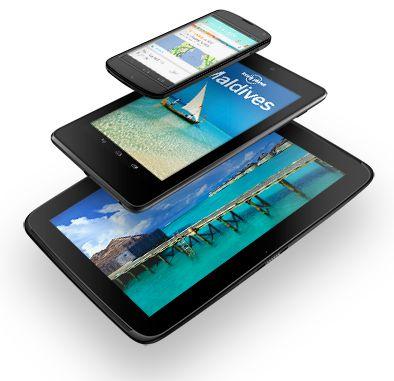Google hat wie erwartet drei neue Nexus-Geräte angekündigt. Es handelt sich dabei um das von LG produzierte Smartphone Nexus 4, das 10-Zoll-Tablet Nexus 10 und eine 32-GByte-Version des 7-Zoll-Tablets Nexus 7, die es auch mit 3G-Mobilfunk geben wird. Alle Geräte laufen mit der jüngsten Android-Version 4.2, die verbesserte Google-Now-Funktionen, eine Swype-ähnliche Texteingabe und eine optimierte Kameraanwendung mitbringt. Alle Neuvorstellungen werden ab 13. November im Play Store erhältlich sein. Die Preise beginnen bei 300 Dollar für das Nexus 4, bei 400 Dollar für das Nexus 10 und bei 300 Dollar für das Nexus 7 mit HSPA+. Ab dann bietet Google auch in Europa Musik über seinen Marktplatz an (Foto: Google).