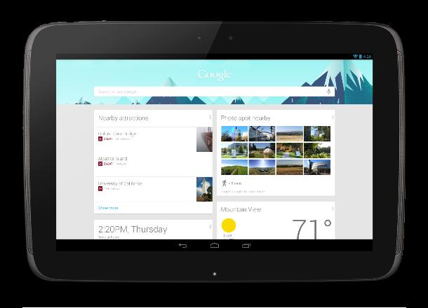 Auf dem Nexus 10 läuft die Android 4.2 inklusive der Erweiterungen von Google Now  (Foto: Google).