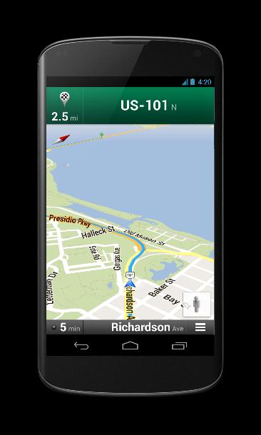 Das Nexus lässt sich wie alle aktuellen Android-Smartphones auch als Navigationsgerät nutzen (Foto: Google).