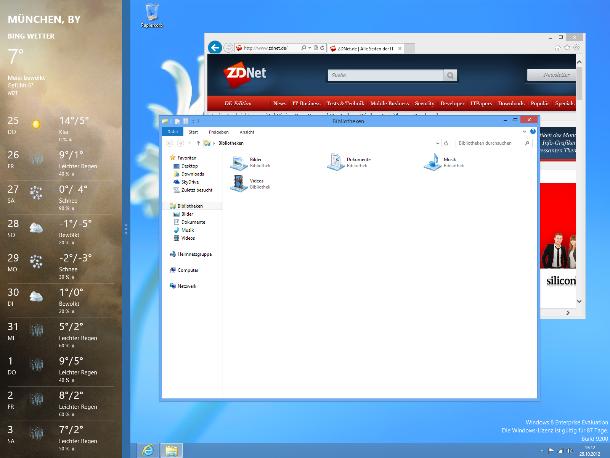 Beide Umgebungen könen in Windows 8 gemischt angezeigt werden. Der Wetter-App links wird im so genannten Snapped Mode dargestellt. Seine Breite ist mit 320 Pixeln fest definiert und kann nicht verändert werden (Screenshot: ZDNet).