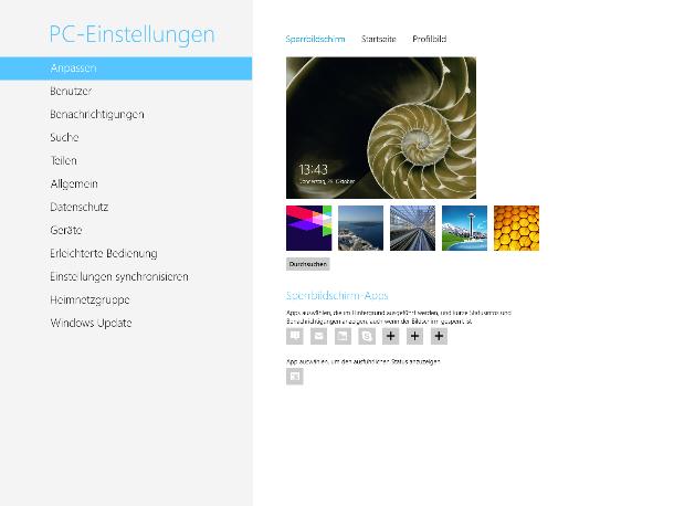 Auch die Systemsteuerung ist sehr einfach gehalten (Screenshot: ZDNet).