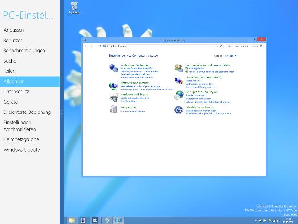 Verwirrend: Windows 8 hat zwei Systemsteuerungen (Screenshot: ZDNet).