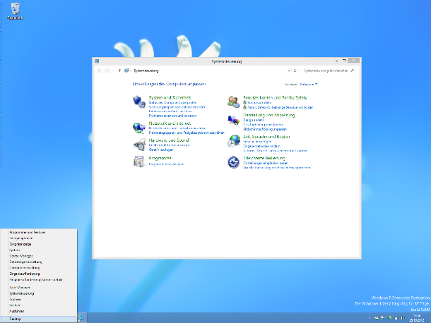 Über einen Rechtsklick in die linke unter Ecke kann man auch ohne Startmenü alle wesentlichen Funktionen aufrufen (Screenshot: ZDNet).