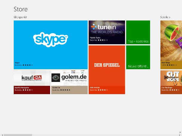 Die neuen Apps werden aus dem Windows Store bezogen. Er erhält derzeit weniger als 5000 Programme (Screenshot: ZDNet).