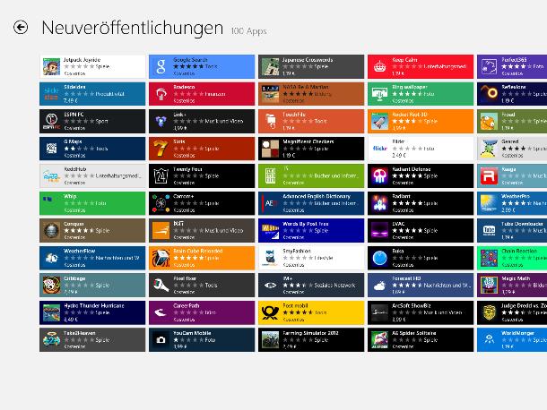 Der Windows Store ist teilweise sehr unübersichtlich (Screenshot: ZDNet).