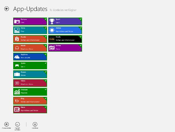 Für alle der mit Windows 8 ausgelieferten Programme bietet Microsoft bereits Updates (Screenshot: ZDNet).