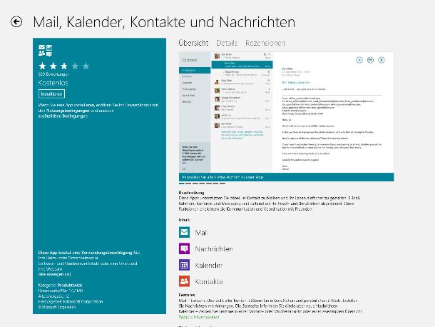 So präsentiert der Windows Store Apps, hier den E-Mail-Client (Screenshot: ZDNet).
