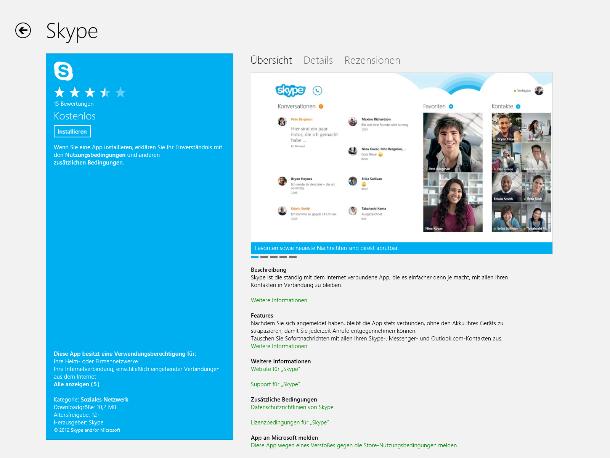 Auch Skype ist mittlerweile vertreten (Screenshot: ZDNet).