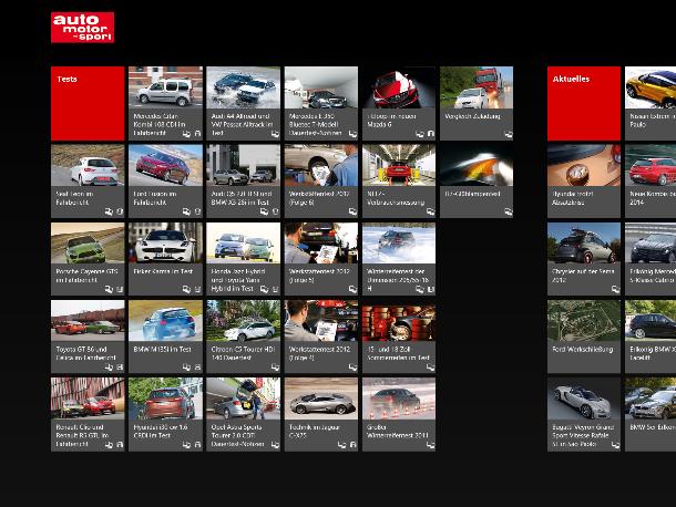 Deutlich einfacher ist hingegen die App von Auto, Motor und Sport gestaltet (Screenshot: ZDNet).