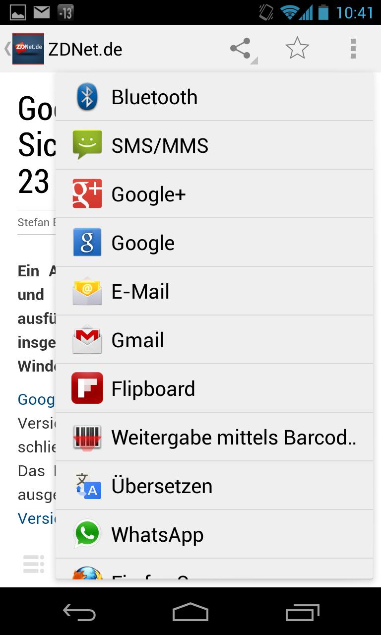 Google Currents: Optionen für das Teilen von Artikeln