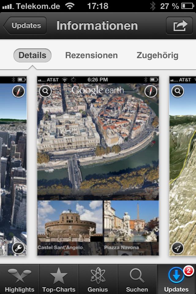 """Nachdem bereits vor vier Wochen Google Earth 7.0 für Android erschienen ist, gibt es nun die neue Version auch für iOS. Sie steht kostenlos im App Store zur Verfügung.   Die neuen 3D-Bilder in Earth 7.0 erzeugen laut Google die Illusion, als ob man über eine Stadt fliege. Zum Start sind unter anderem die Metropolen Boston, Los Angeles, San Francisco, Genf und Rom als dreidimensionale Modelle verfügbar. Weitere Städte sollen in den nächsten Wochen und Monaten folgen. Allerdings setzen die 3D-Bilder ein Gerät mit Dual-Core-Prozessor voraus.  Die integrierte Reiseführerfunktion zeigt am unteren Bildschirmrand zur aktuellen Ansicht passende Touren als Tab an. Wählt der Nutzer einen Reiter aus, """"fliegt"""" er zu der Sehenswürdigkeit und erhält Hintergrundinformationen dazu aus Wikipedia.  Die 3D-Funktion steht allerdings nur auf dem iPhone 4S, iPad 2 und dem neuen iPad zur Verfügung."""