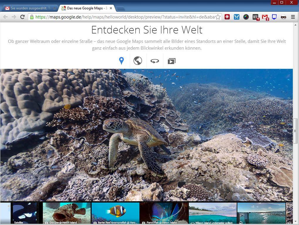 Google Maps stellt auch Informationen aus Unterwasserwelt zur Verfügung.