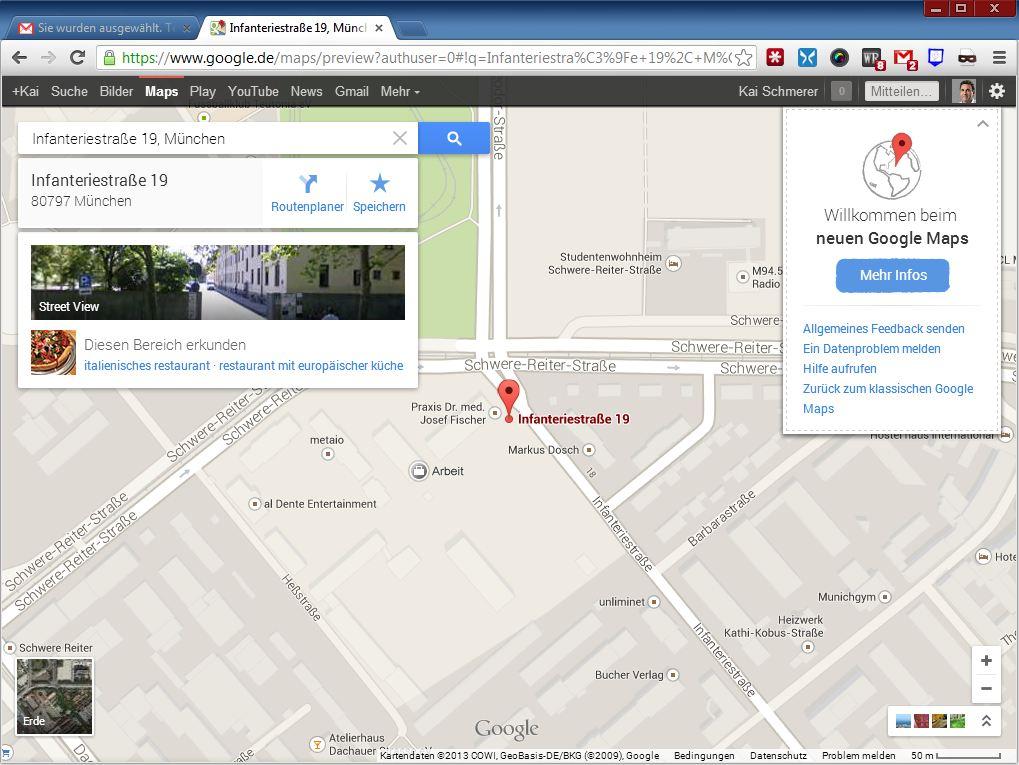 """Das Layout der Info-Karten stammt von Google Now. Der Wechsel zur Satellitenansicht wird mit einem Klick auf das Symbol \""""Erde\"""" links unten aktiviert."""