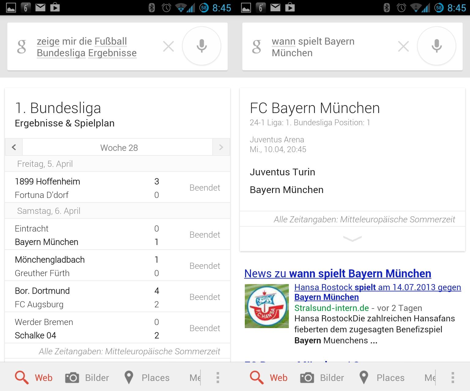 Google Now kennt nun auch die Ergebnisse der Fußball-Bundesliga. Fragen zu den nächsten Spielen werden ebenfalls beantwortet. Eine Sprachausgabe bei diesem Beispiel fand nicht statt.