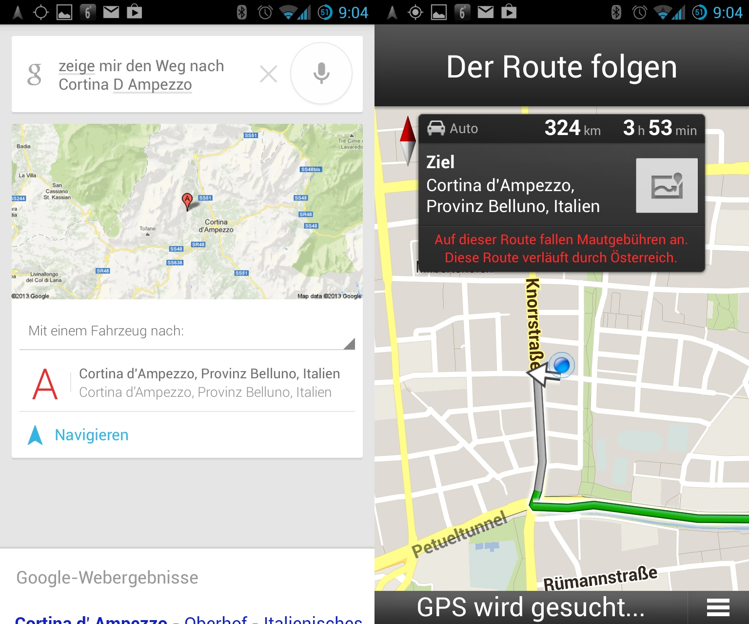 """Den besten Eindruck hinterlässt die Sprachsteuerung der Navigations-App. \""""Zeige mir den Weg nach Ort xy\"""" funktioniert tadellos und wird sogar mit einer Sprachausgabe quittiert. Die für die im Beispiel gewählte Strecke benötigte Zeit gibt Google Maps mit realistischen 3 Stunden und 53 Minuten an. Für den 302  km langen Fußweg kalkuliert das System 2 Tage und 16 Stunden. Das dürfte selbst für gut trainierte Langstreckenläufer wie Google-Mitarbeiter <a href=\""""https://plus.google.com/109412257237874861202/posts/WGEaFRTdQWm\""""title=\""""Matt Cutts bei Google+\"""">Matt Cutts</a> etwas zu knapp bemessen sein."""