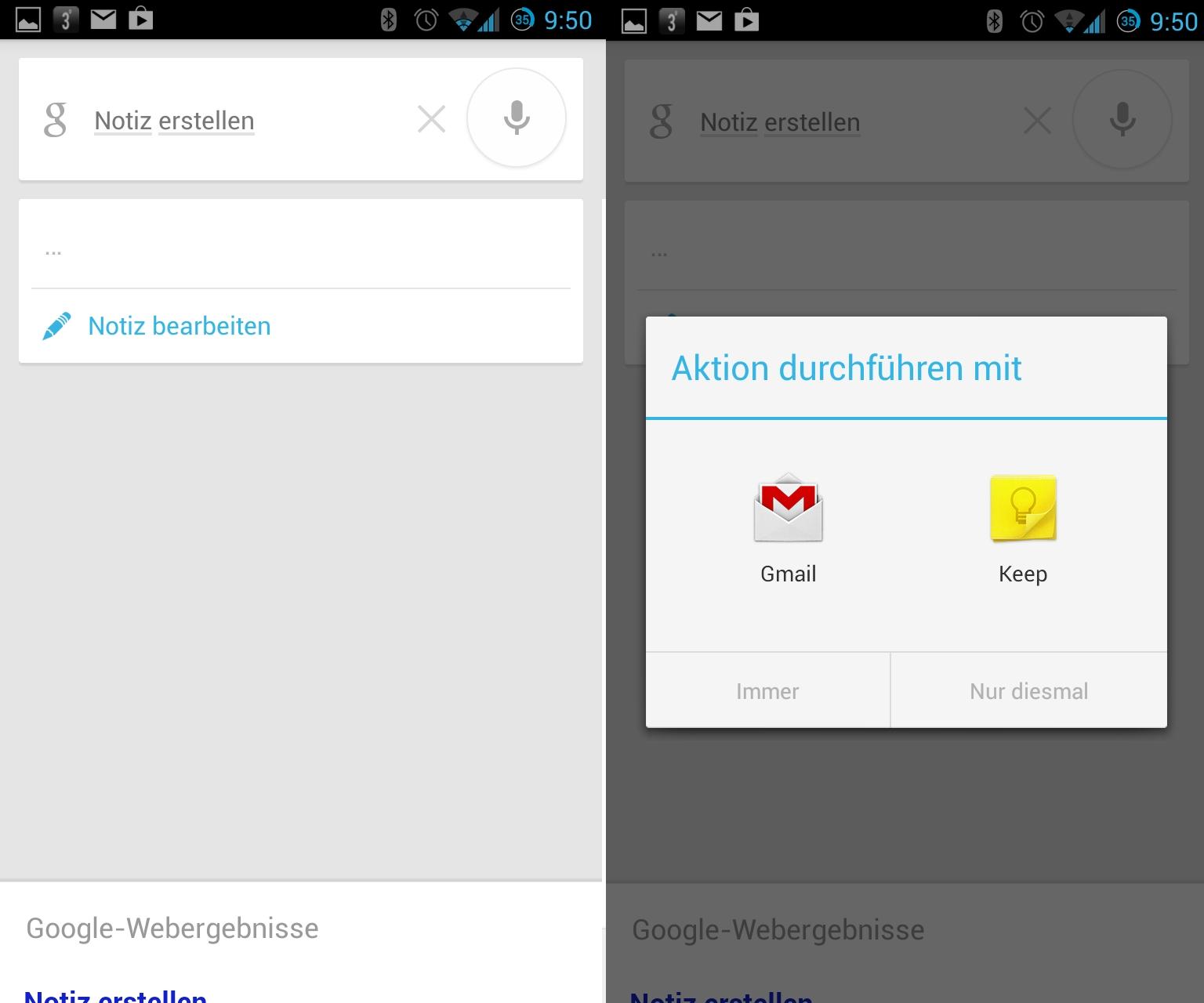 """Kurze Notizen lassen sich auch per Sprache erstellen. Standardmäßig sieht das System hierfür Gmail vor. Befindet sich jedoch ein Notiz-App wie <a href=\""""http://www.zdnet.de/88148565/galerie-so-sieht-google-keep-aus/#image=1\"""" target=\""""_blank\"""" title=\""""So sieht Google Keep aus\"""">Keep</a> oder <a href=\""""http://downloads.netmediaeurope.de/4066/evernote-de17x0/\"""" target=\""""_blank\"""">Evernote</a> auf dem Gerät, steht diese ebenfalls zur Auswahl."""