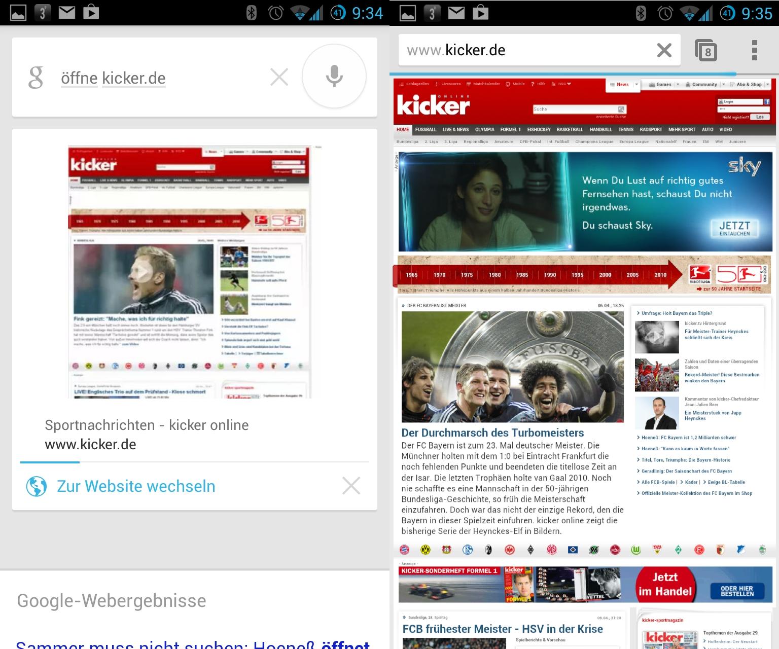 """Per Sprache eine Webseite öffnen, beherrscht Google Now ebenfalls. Hierfür spricht man \""""Öffne Adresse der Webseite\"""" ins Mikrofon. Mit kicker.de hat das einwandfrei funktioniert. Wer ZDNet.de per Sprache öffnen will, landet allerdings beim ZDF."""