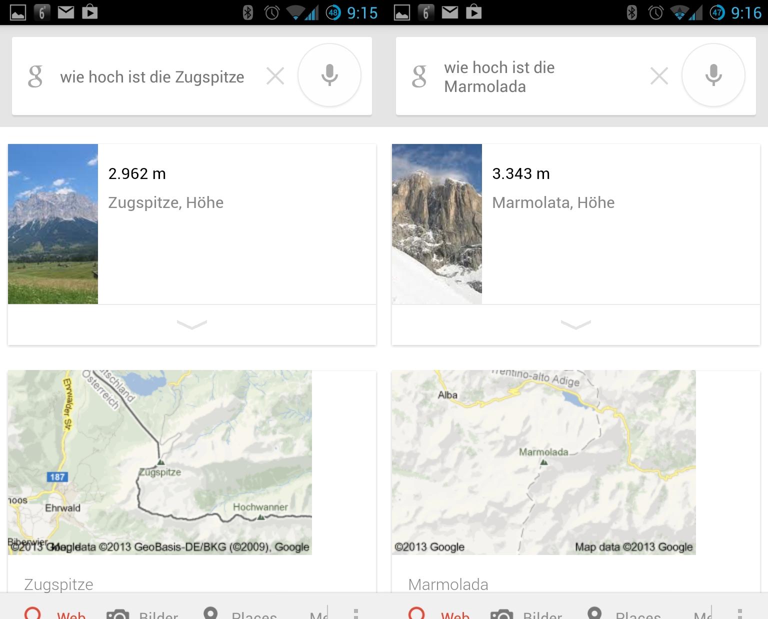 Berghöhen sind Google Now auch geläufig.