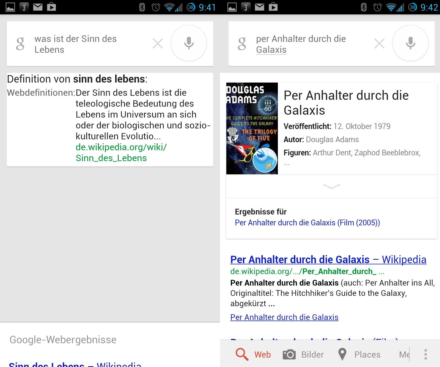 """Die Frage nach dem Sinn des Lebens beantwortet das deutsche Google Now mit einer Definition aus Wikipedia, während sich die englische Variante mit Erkenntnissen aus dem Buch \""""Per Anhalter durch die Galaxis\"""" diesbezüglich äußert."""