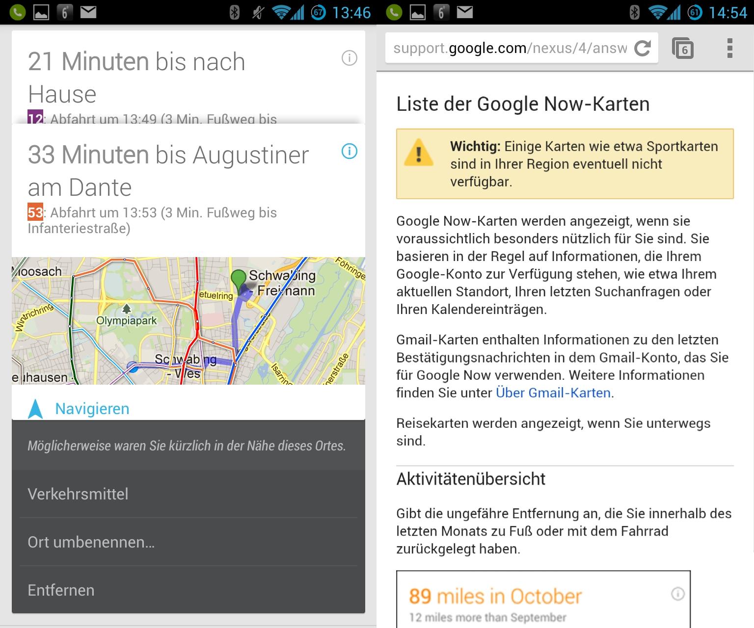 Google Now kennt natürlich alle Orte, die man kürzlich besucht hat und blendet entsprechende Karten ein. Die deutsche Variante bietet allerdings noch nicht den vollen Funktionsumfang. Obwohl Google Now mit Sportteams wie Bayern oder Barcelona gefüttert werden kann, zeigt es entsprechende Karten nicht an.