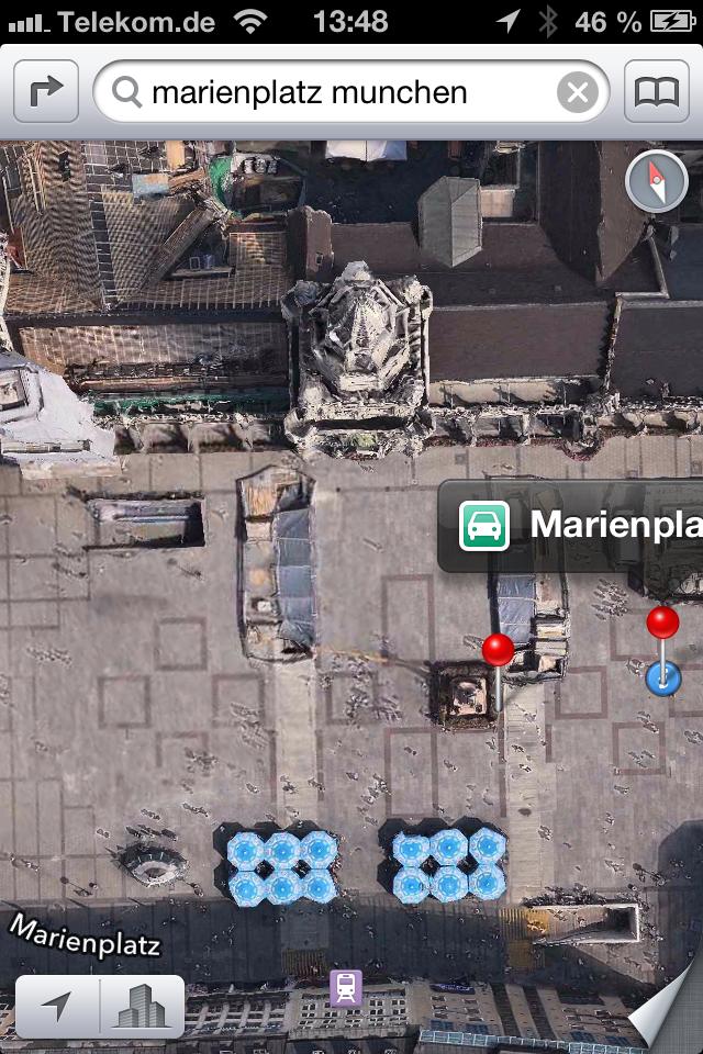 Der Münchner Marienplatz in der 2D-Ansicht.