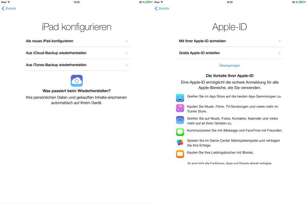 Der Nutzen der Apple-ID wird nun während des Setups etwas ausführlicher erläutert.
