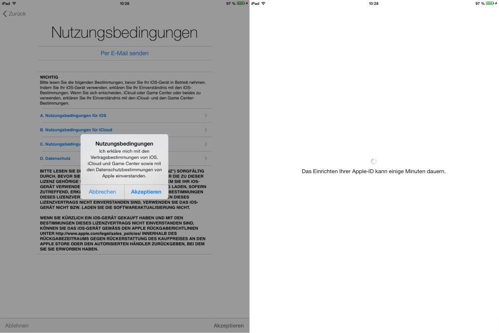 Anschließend beginnt die Konfiguration auf Basis der mit der Apple-ID verknüpften Daten.