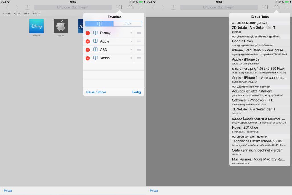 Der Zugriff auf Favoriten dürfte nicht jedem gefallen. Bisher wurde die Favoritenleiste eingeblendet, wenn man das Adressfeld aktiviert hat. Jetzt ist sie standardmäßig deaktiviert. Stattdessen werden Lesezeichen auf einer eigenen Seite dargestellt. Damit verändert Apple die Nutzung erheblich.