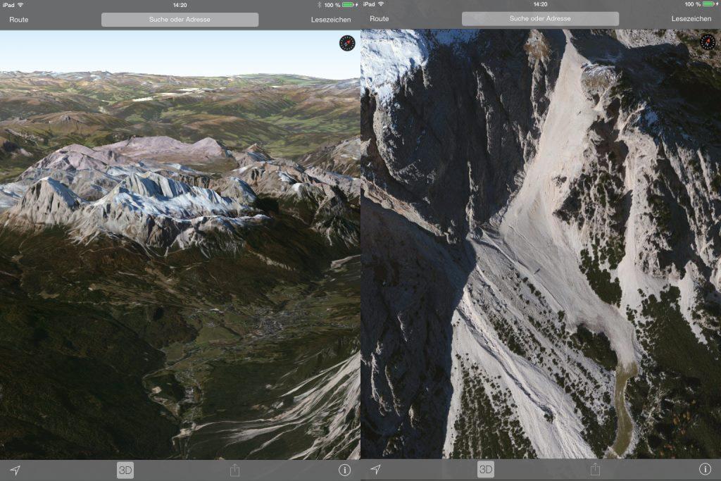 Inzwischen hat Apple auch den Kartendienst stark verbessert. Für manche Gegenden steht hochauflösendes Datenmaterial zur Verfügung. Da kann Google derzeit nicht mithalten.
