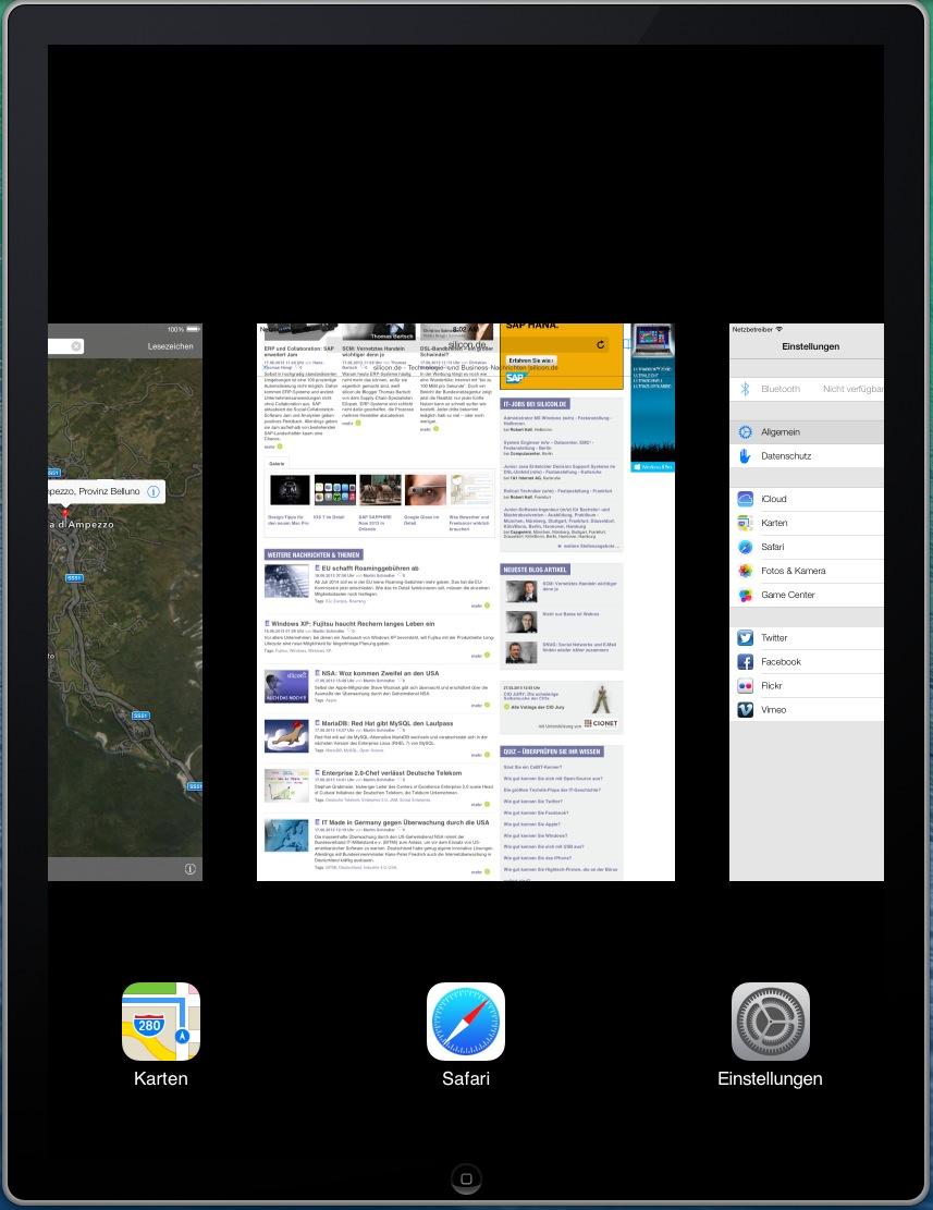 Da iOS 7 derzeit als Beta-Version noch nicht für das iPad zur Verfügung steht, ist das genaue Aussehen von Apples neuem Mobilbetriebssystem auf dem Tablet unbekannt. Dank eines Tricks, den ein Leser des Blogs 9to5mac.com entdeckt hat, ist es möglich, den in der Apple-Entwicklerumgebung Xcode enthaltenen iOS-Simulator zur Anzeige von iOS 7 auf dem iPad zu bewegen.  Da innerhalb des iPhone-Simulators längst nicht jede App installiert ist, die standardmäßig zum Lieferumfang zu iOS 7 gehört,  erscheint das Einstellungsmenü noch nicht komplett. Auch die anderen Screenshots von iOS 7 auf dem iPad sind sicher noch nicht zu 100 Prozent mit der für Herbst erwarteten Version identisch. Einen ersten Eindruck wie das neue Mobilbetriebssystem in Verbindung mit dem iPad aussieht, vermitteln sie dennoch. <br>Die Darstellung beim Wechsel von Apps dürfte der endgültigen Fassung entsprechen.