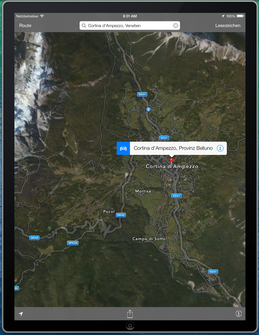 Teilweise liefert die Karten-App eine sehr gute Qualität, die die Darstellungsqualität von Google Maps deutlich überragt.