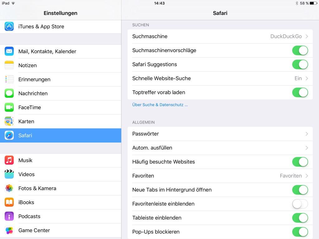 Als weitere Datenschutz- und Sicherheitseinstellungen stehen unter Einstellungen - Safari außerdem noch Optionen für Tracking, Cookies, Betrugswarnung und  - neu - in iOS 9 Inhalts-Blocker zur Verfügung.