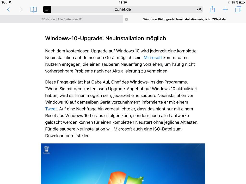Den Lesemodus gibt es auch unter iOS 9.