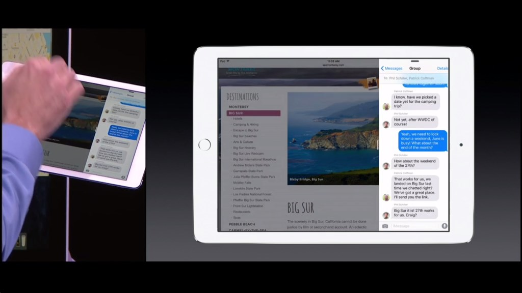 Mit Slide Over steht eine neue Multitaskinggeste für iPad Air 2, iPad Air, iPad mini 2 und iPad mini 3 zur Verfügung. Mit einer Wischgeste vom rechten Bildschirmrand kann eine zusätzliche App eingeblendet werden. Allerdings sind nicht beide Apps aktiv, sonder nur jene am rechten Rand.