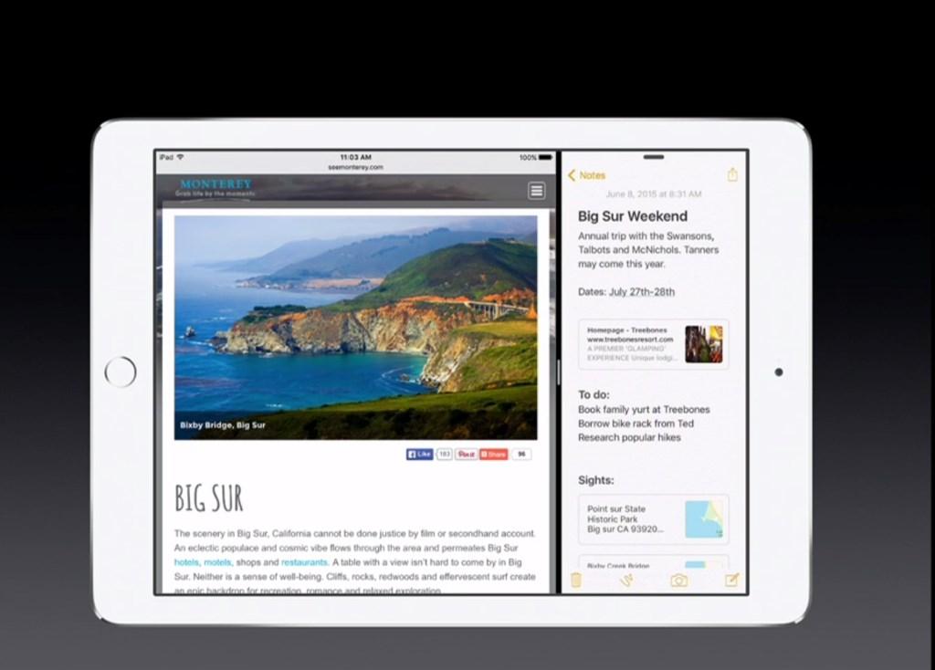 Das gleichzeitige Ausführen von zwei Anwendungen ermöglicht die Geste Split View. Sie wird aktiviert, indem man auf den Teiler zwischen den Apps in der Slide-Over-Ansicht klickt. Diese Geste steht allerdings nur auf dem iPad Air 2 zur Verfügung, das als einziges Apple-Tablet über 2 GByte RAM verfügt und damit gegenüber den älteren Geräte mit 1 GByte Arbeitsspeicher genügend Ressourcen für dieses Feature zur Verfügung stellt.