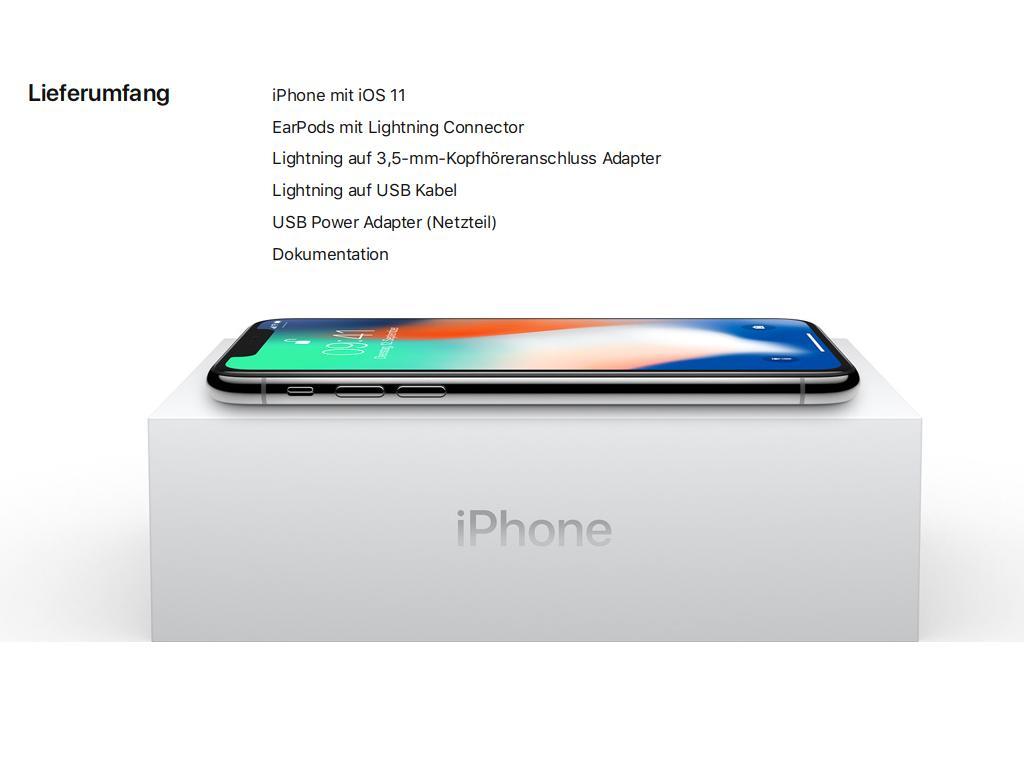 Der Lieferumfang ist bei allen 2017er-iPhones identisch. Sie werden natürlich mit der neuesten iOS-Version betrieben und enthalten einen EarPod mit Lighning-Anschluss. Ein Adapter für den Anschluss von Standard-Kopfhörern gehört genauso zum Lieferumfang wie ein Ladekabel und ein Netzteil.<br>