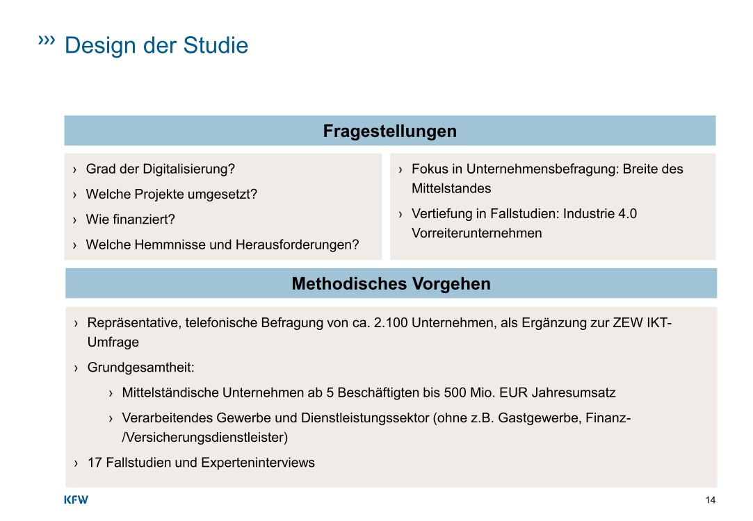 """Der Ausbau der Digitalisierung wird in der Studie auf Basis einer telefonischen Befragung bei 2.078 Unternehmen erfasst, die von ZEW und infas konzipiert und von infas im Zeitraum von Oktober 2015 bis Februar 2016 durchgeführt wurde. Diese Erhebung stellt eine Ergänzungsbefragung zur ZEW IKT-Umfrage 2015 dar und ist repräsentativ für Unternehmen, die mindestens 5 Mitarbeiter und einen Umsatz unter 500 Millionen Euro haben, und damit für die Breite des deutschen Mittelstands. Die statistischen Auswertungen dieser Studie beruhen auf der ZEW IKT-Umfrage 2015 sowie auf der Ergänzungsbefragung 2015/16, die im Auftrag der KfW durchgeführt wurde. Weiterhin wurden 17 qualitative Interviews geführt, um die Situation von innovativen Vorreiterunternehmen im Bereich Industrie 4.0 vertieft zu untersuchen. Von diesen Unternehmen geht ein großes Potential für die digitale Transformation des Industriestandortes Deutschland aus. Aus vorigen Studien wird deutlich, dass Deutschland als IKT-Standort, d.h. als Standort für IKT-Unternehmen und internetbasierte Leistungserstellung, unter den Industrieländern im Mittelfeld liegt (BMWi, 2015a). Zu den Stärken der digitalen Wirtschaft in Deutschland zählen die Innovationsfähigkeit und die Vernetzung zwischen IKT-Branche und anderen Branchen. <br><a href=\""""https://www.kfw.de/PDF/Download-Center/Konzernthemen/Research/PDF-Dokumente-Studien-und-Materialien/Digitalisierung-im-Mittelstand.pdf\"""">Quelle: KfW-Studie August 2016</a>"""