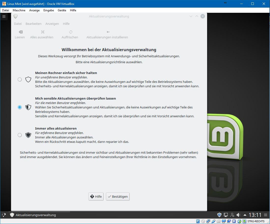 Um die Aktualisierungsverwaltung konfigurieren zu können, muss zunächst das Fenster von Virtualbox vergrößert werden. Erst dann kommt der entsprechende Bestätigungsschalter zum Vorschein.