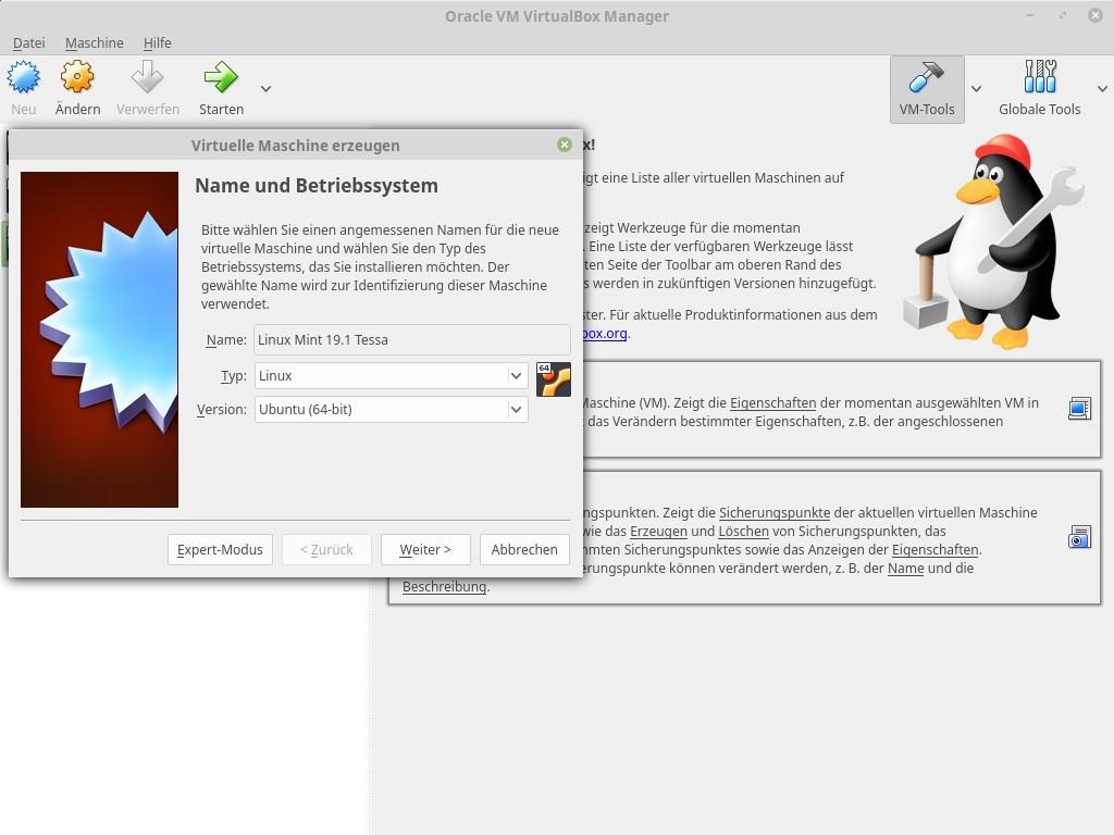 Wer das neue Linux Mint 19.1 Tessa ausprobieren möchte, muss es nicht unbedingt physikalisch auf einem Rechner installieren. Mit Virtualbox steht eine kostenlose Virtualisierungsspftware zur Verfügung, mit der man Linux Mint 19.1 Tessa unter Windows, macOS oder Linux installieren kann. <br> Der Konfigurationsassistent von Virtualbox erleichtert die Erstellung einer virtuellen Maschine, mit der man später Linux Mint 19.1 Tessa insalliert.