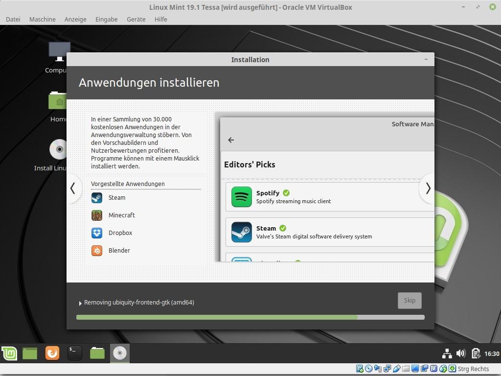 Mit der Anwendungsverwaltung kann man zusätzliche Programme installieren.