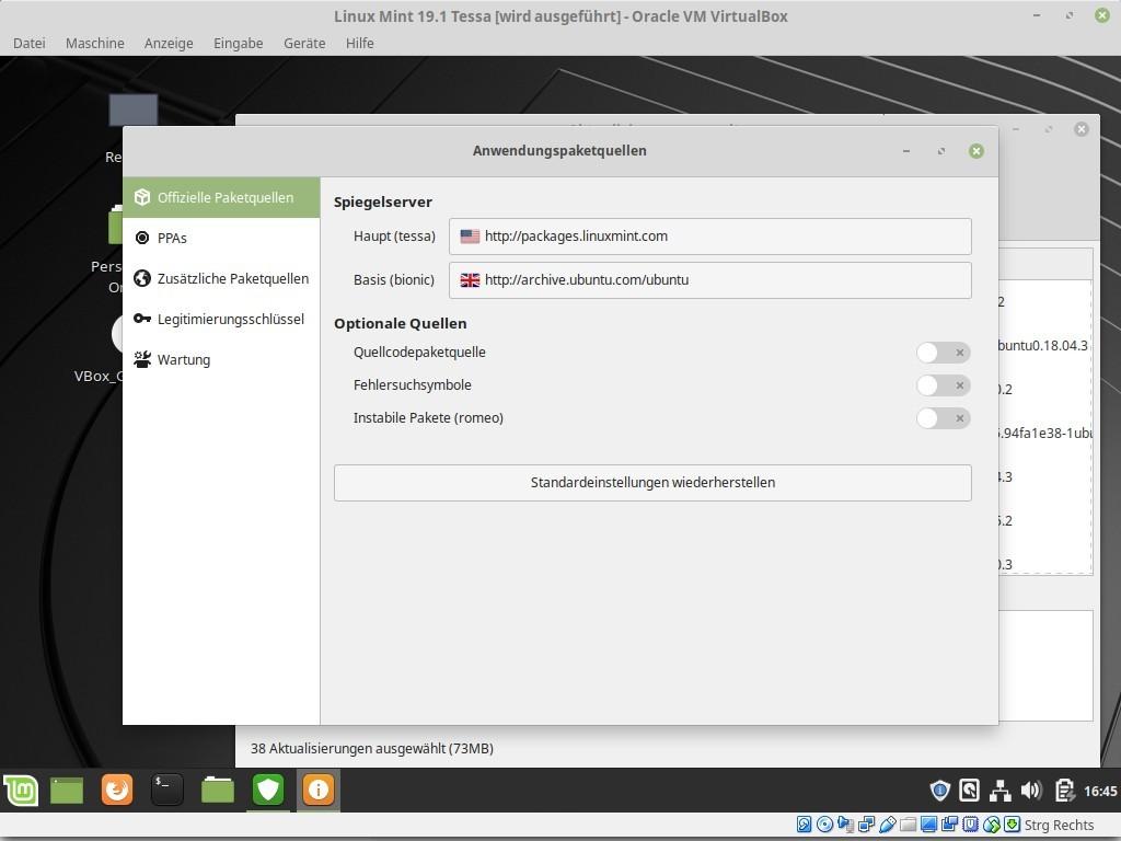 Zwei Spiegelserver stehen zur Verfügung: Mint und für den Unterbau Ubuntu.