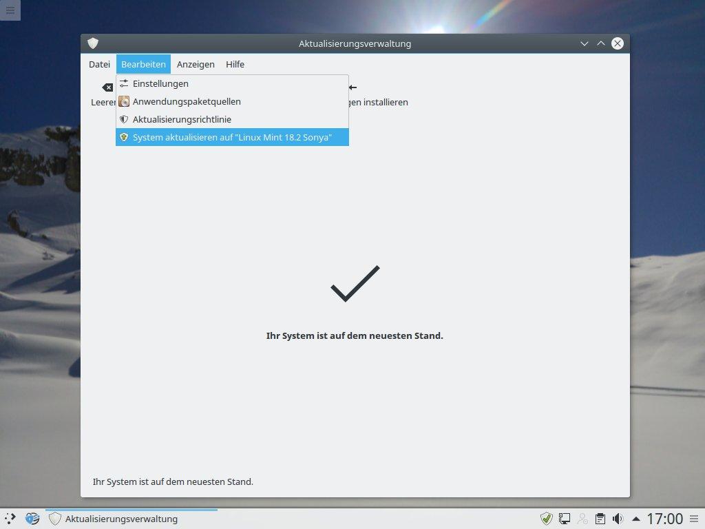 """Das Upgrade wird in der Aktualisierungsverwaltung unter Bearbeiten mit der Option \""""System aktualisieren auf Linux Mint 18.2 Sonya\"""" gestartet."""