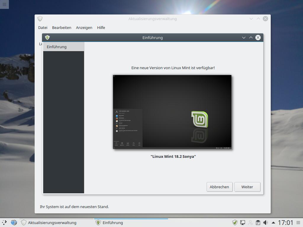 Zunächst erscheint ein Status-Screen, der lediglich anzeigt, dass die neue Version zur Verfügung steht.
