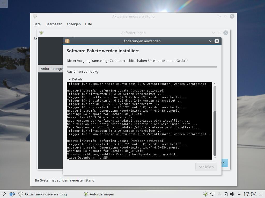 """Dann erfolgt die Installation neuer Software. Einzelheiten dazu lassen sich über \""""Details\"""" einblenden."""