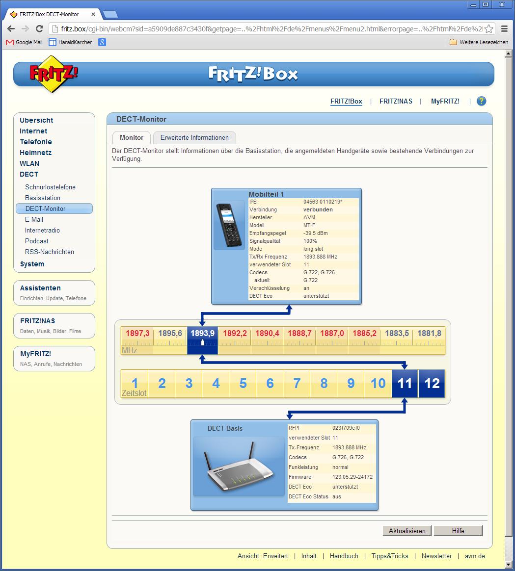 Der DECT-Monitor der Fritzbox 6842 LTE zeigt an, auf welcher DECT-Frequenz die LTE-to-DECT-Telefonate geführt werden (Foto: Harald Karcher).