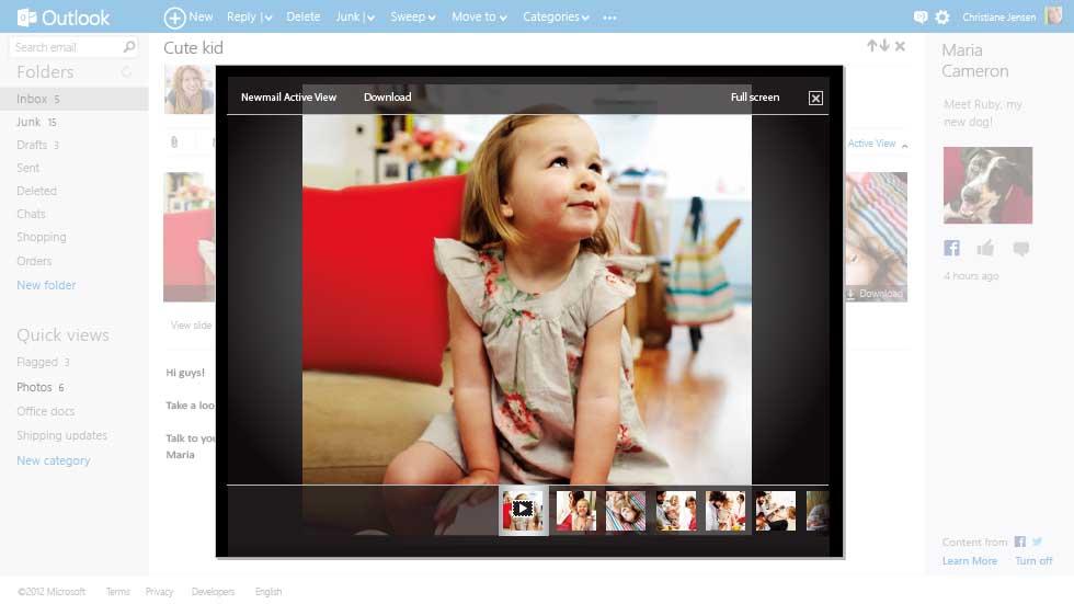 "An E-Mails angehängte Fotos zeigt Outlook.com in einer Vorschau-Galerie an (Bild: Microsoft). <br><br><i><a href=\""http://www.zdnet.de/88117033/microsoft-stellt-moglichen-hotmail-nachfolger-outlook-com-vor/\"" target=\""_extern\"">Vollständigen Artikel lesen</a></i>"