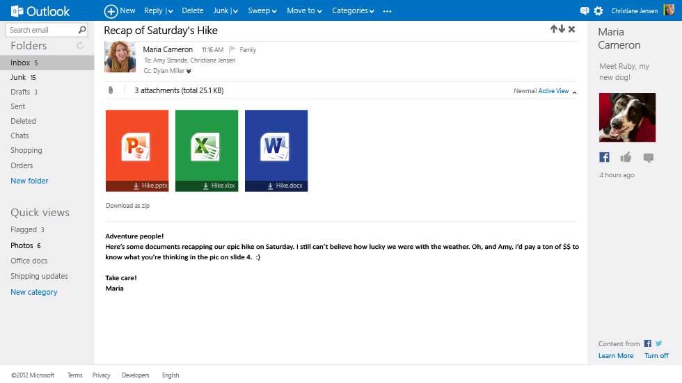 """Angehängte Office-Dateien können direkt aus dem E-Mail-Client heraus geöffnet werden (Bild: Microsoft). <br><br><i><a href=\""""http://www.zdnet.de/88117033/microsoft-stellt-moglichen-hotmail-nachfolger-outlook-com-vor/\"""" target=\""""_extern\"""">Vollständigen Artikel lesen</a></i>"""